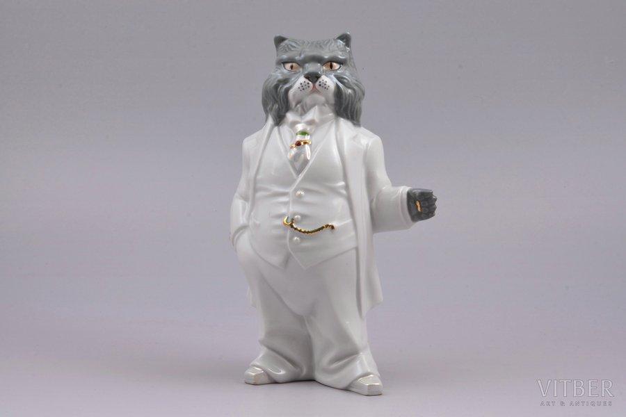 figurine, Mr. Сat, porcelain, Ukraine, Korosten Porcelain Factory, molder - A.G. Shevchenko, the 90ies of 20th cent., 18.9 cm, first grade