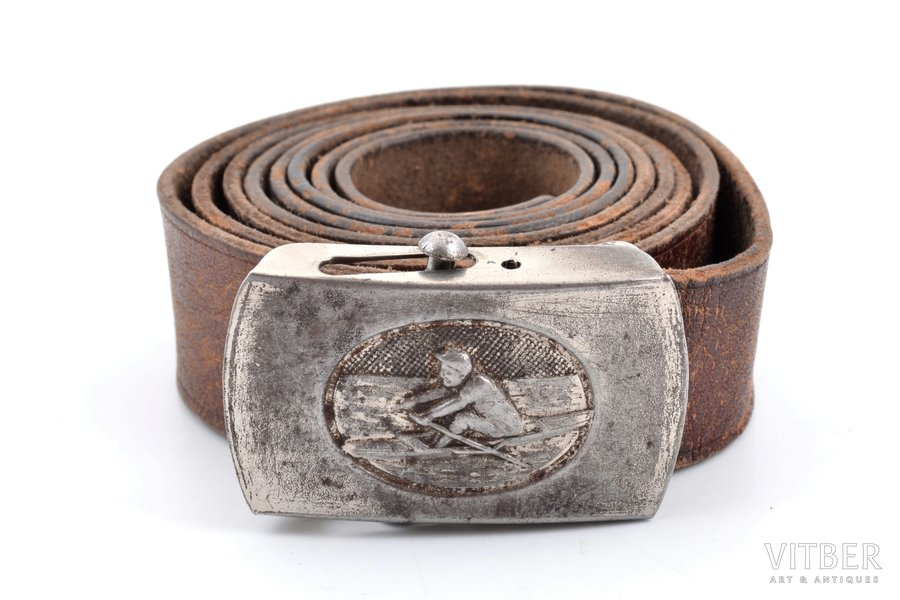 scout's belt, metal, leather, Latvia, 20-30ies of 20th cent., belt length 116 cm