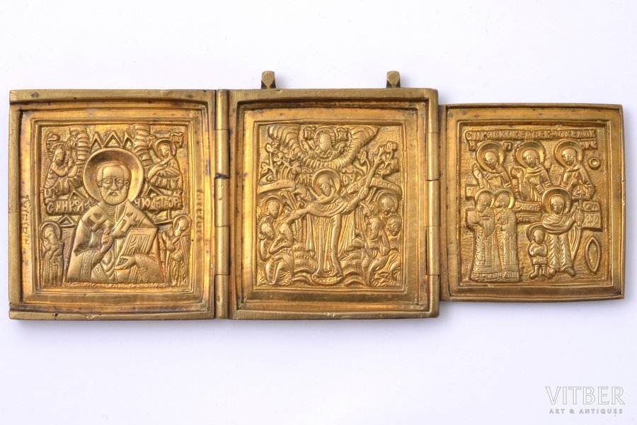 icon with foldable side flaps, copper alloy, Russia, the border of the 19th and the 20th centuries, 6.6 x 16.3 x 0.6 cm, 268.70 g.