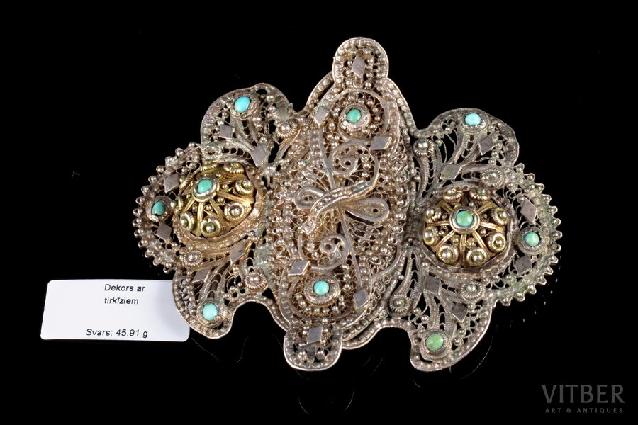 a belt clip, silver, 84 standart, 45.91 g., the item's dimensions 8 x 6.6 cm, turquoise, 1896-1907, by Yakov Rosen, St. Petersburg, Russia