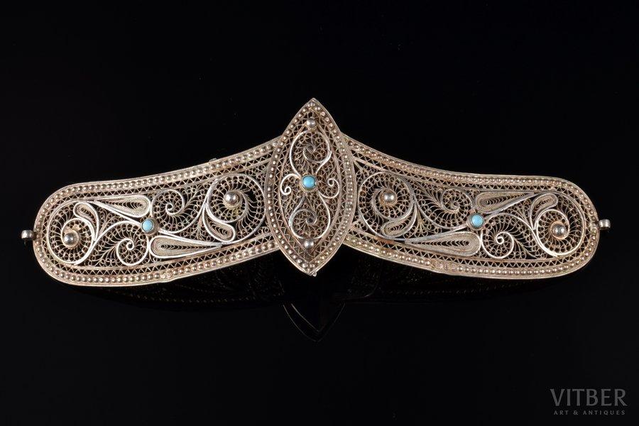 a belt clip, silver, 84 standart, 53.05 g., the item's dimensions 17.8 x 5.3 cm, 1908-1917, Russia
