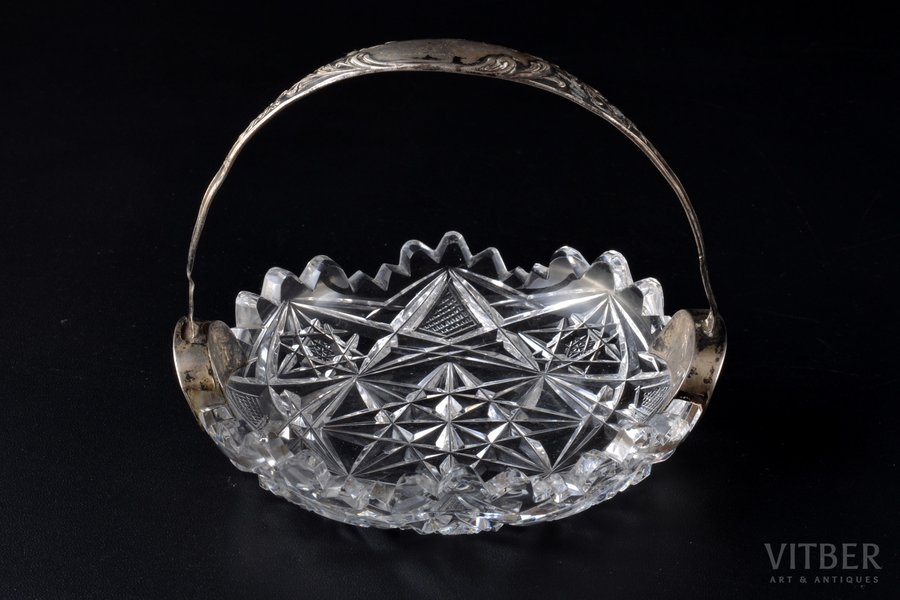 candy-bowl, silver, 875 standart, crystal, the 20-30ties of 20th cent., Latvia, Ø 10.5 cm, h (with handle) 8.5 cm