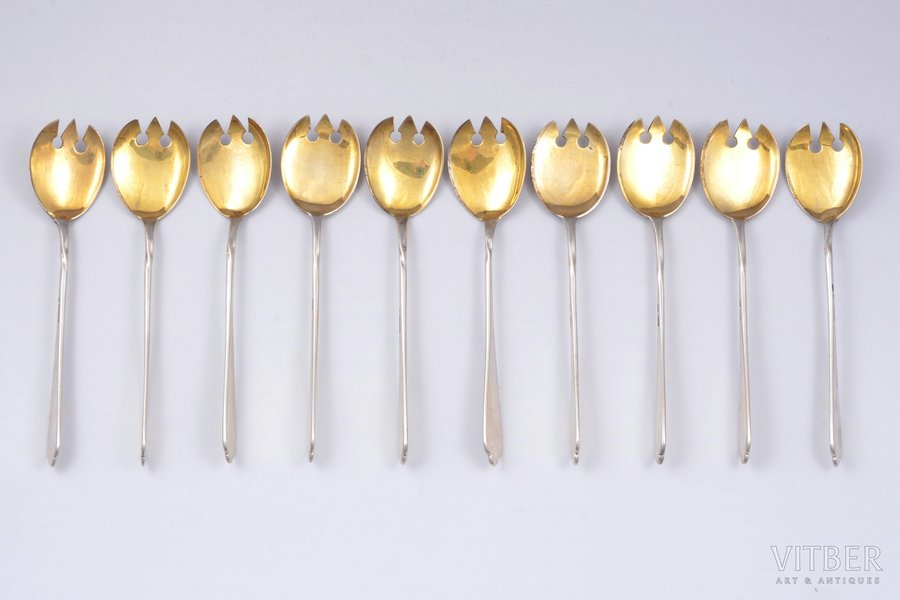 flatware set of 10 items, silver, 84 standart, gilding, 1896-1907, total weight of items 306.40g, trading house of Bolin Factory, Moscow, Russia, 14.7 cm