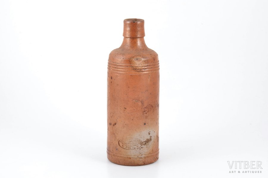 "balsam bottle, ""Керковиусъ и комп."", Riga, ceramics, Latvia, Russia, the beginning of the 20th cent., h 21 cm"