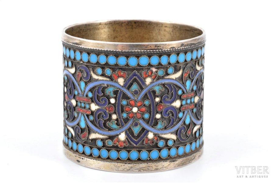 serviette holder, silver, 84 standart, cloisonne enamel, 1880-1890, 39.75 g, Moscow, Russia, Ø 4.7 cm, h 4 cm