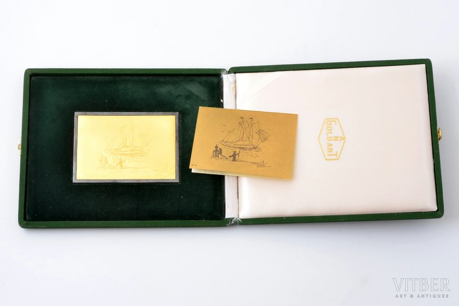 """reproduction of a painting by Dali """"L'addio"""" in the form of a gold bar on a silver base, number 295/2500, gold, silver, 925, 999 standart, 136.45 g., the item's dimensions 10.1 x 71 cm, Italy, in a case"""