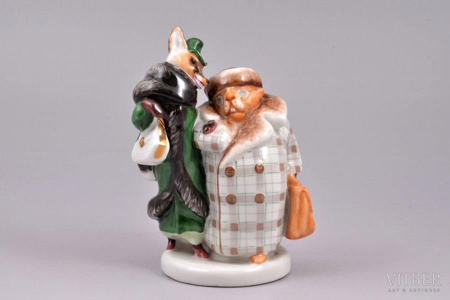 figurine, Fox and beaver, porcelain, USSR, LFZ - Lomonosov porcelain factory, molder - B.Y. Vorobyev, the 50ies of 20th cent., 12.3 cm, top grade