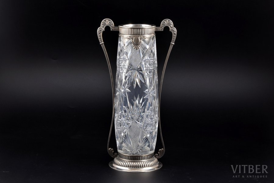 a vase, silver, 84 standart, crystal, 1908-1917, Moscow, Russia, h 29.3 cm