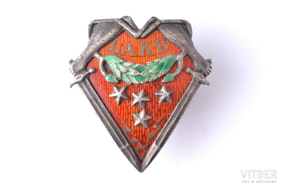badge, LAKB, Latvian Retired soldiers Society, Latvia, 20-30ies of 20th cent., 29.6 x 27.4 mm