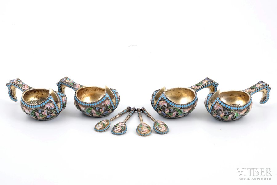 set of 4 kovshes with 4 spoons for salt, silver, 84 standart, gilding, painted cloisonne enamel, 1896-1907, total weight of items 213.20g, by Ivan Saltykov, Russia, kovsh 7.9 x 4.6 x 3.4 см, spoon 6.7 cm