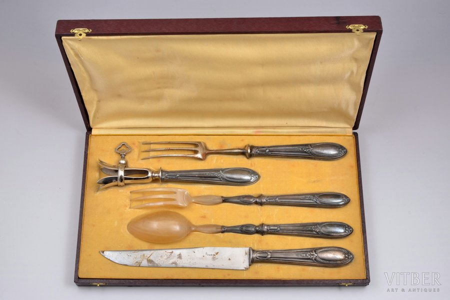 set of 5 flatware items, silver/metal, 800 standart, France, plastic, 21.5 - 32.2 cm, in a box