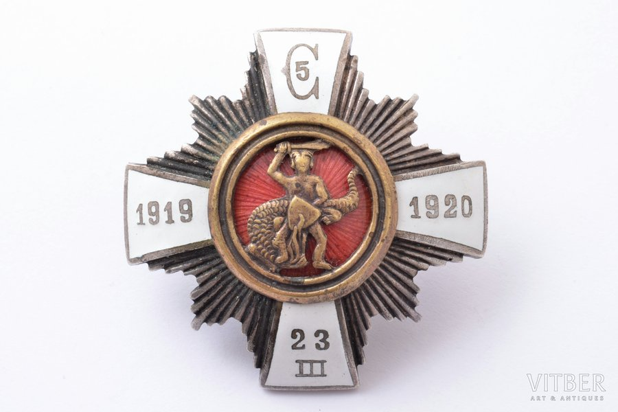 badge, 5th Cesis Infantry Regiment, Latvia, 20-30ies of 20th cent., 46.7 x 47 mm