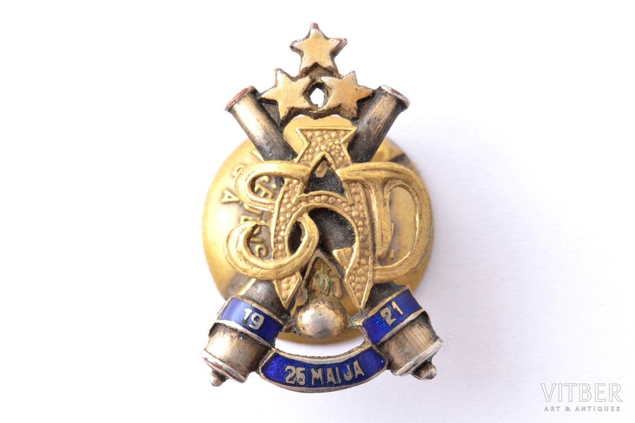 miniature badge, Heavy artillery division, Latvia, 20-30ies of 20th cent., 25.5 x 16.5 mm