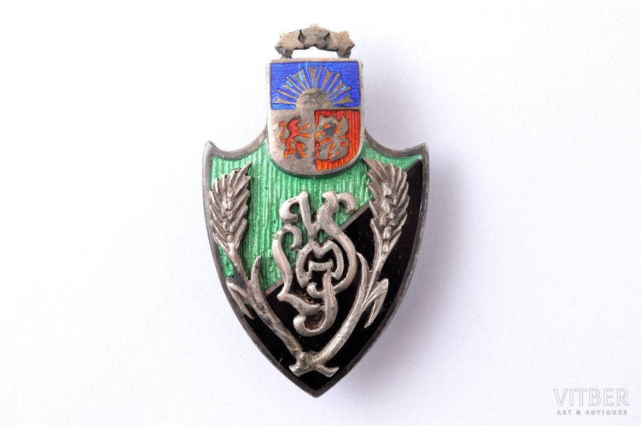 badge, student corporation, Latvia, 20-30ies of 20th cent., 37.9 x 22.9 mm