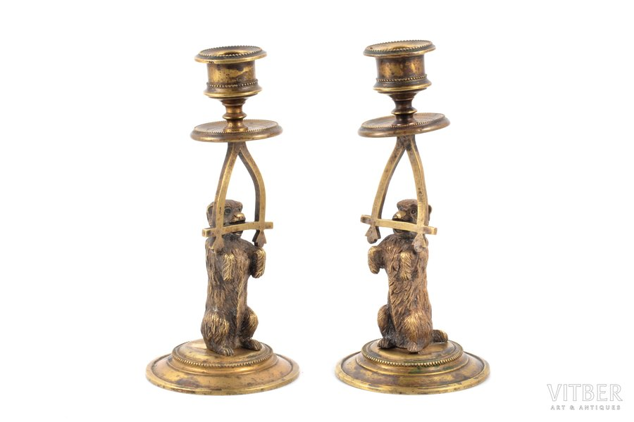 """pair of candle-holders, """"Dogs"""", bronze, h 16.8 cm, weight total weight of items 810.35 g., Russia"""