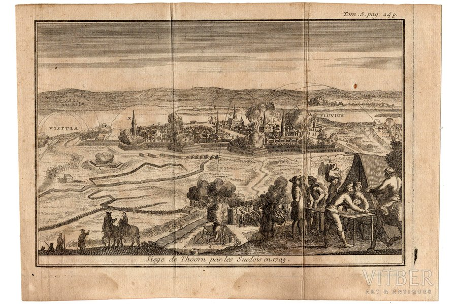 Siege de Thoorn par les Suedois en 1703 - Toruņas (Polija) aplenkums 1703. gadā, papīrs, gravīra, 12.9 x 19.2 cm