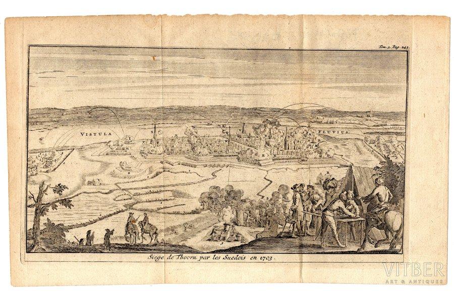 Siege de Thoorn par les Suedois en 1703 - Осада Торуни (Польша) шведскими войсками в 1703 году, бумага, гравюра, 12.2 x 22.8 см