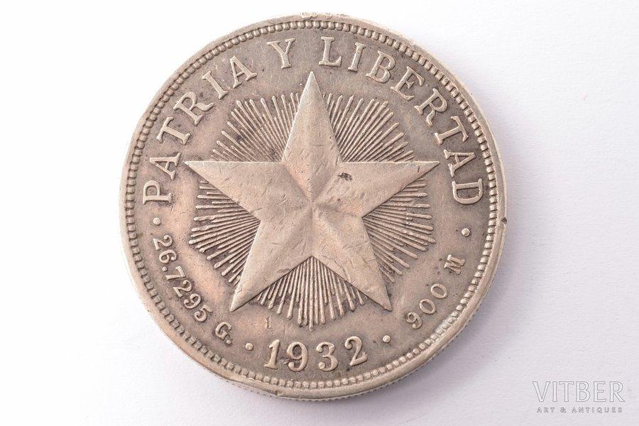 1 peso, 1932, silver, Cuba, 26.60 g, Ø 38.1 mm, VF