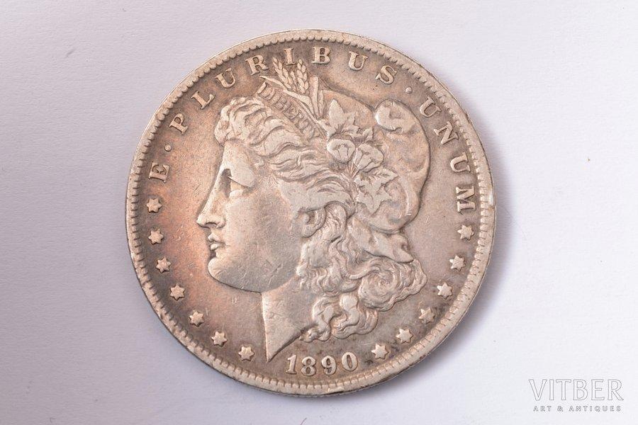 1 dolārs, 1890 g., sudrabs, ASV, 26.40 g, Ø 37.8 mm, AU