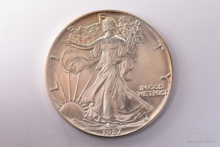 1 dolārs, 1987 g., sudrabs, ASV, 31.32 g, Ø 40.6 mm, AU