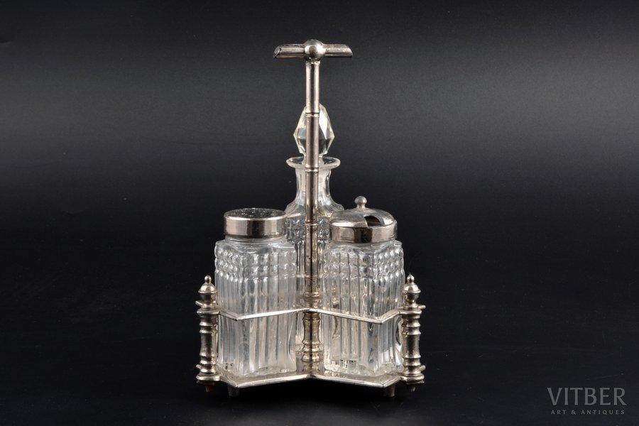 набор для специй, B. Friedgut, начало 20-го века, h 18.5 см, небольшой скол на горлышке бутылочки