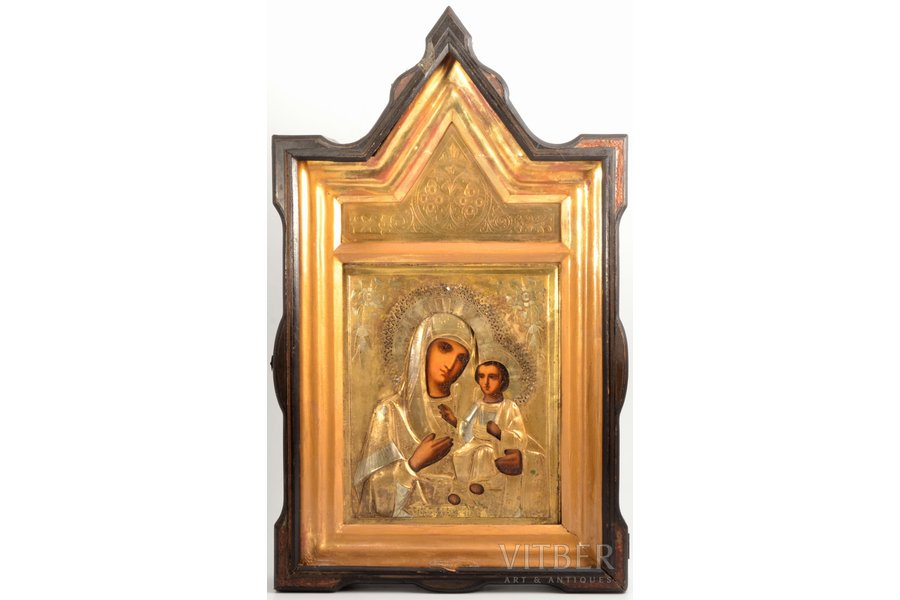 "icon, Mother of God ""Iveron"", in icon case, board, painting, brass, Russia, 26.7 x 22.2 x 2.1 cm, icon case 56.5 x 34 x 8 cm"