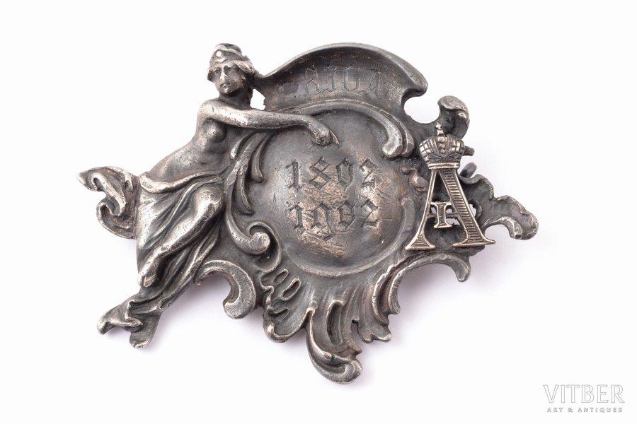 commemorative badge, commemoration of visit of Emperor Alexander I to Riga, silver, Russia, 1902, 34.6 x 45.2 mm