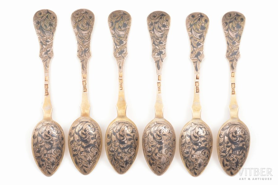 set of 6 teaspoons, silver, 84 standart, niello enamel, 1848, total weight of items 137.55g, by Stroganov S., Moscow, Russia, 13.6 cm