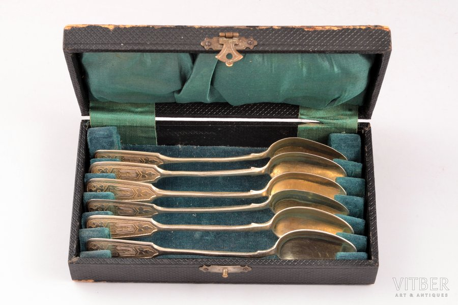 set of 6 teaspoons, silver, 84 standart, engraving, 1908, total weight of items 73.30g, Andreyeva Matryona, Moscow, Russia, 13.2 cm, in a box