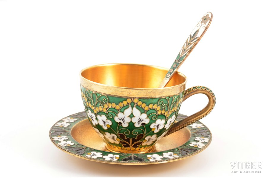 "tea pair with spoon, teaspoon, silver, 916 standart, cloisonne enamel, gilding, 1975, total weight of items 228.30g, ""Russkiye Samotsvety"", Leningrad, USSR, h (cup) 5.1 cm, Ø (saucer) 10.9 cm, spoon 11.6 cm, spoon 925 standard, 1980"
