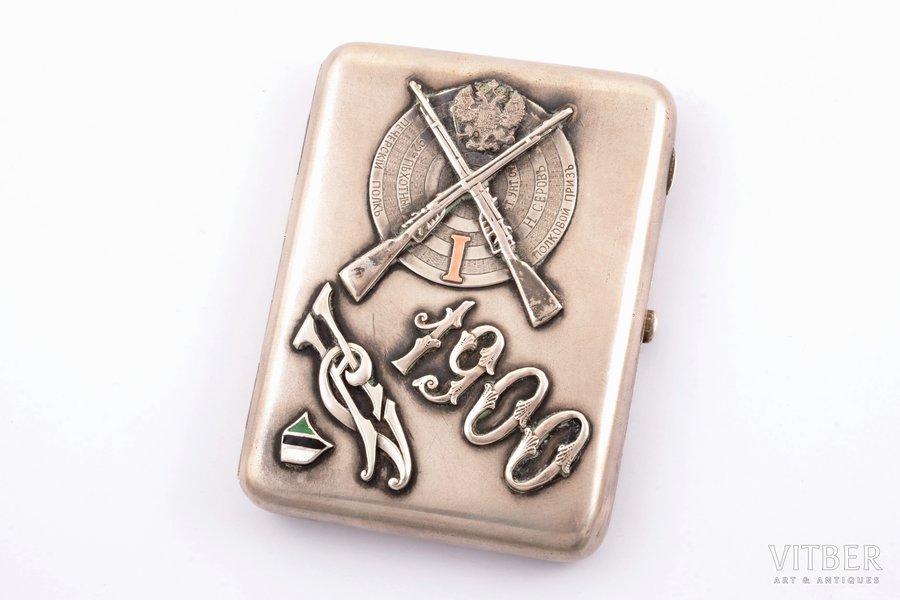 cigarette case, silver, 84 standart, regimental prize, 92nd Pechora Infantry Regiment, enamel, gilding, 1908-1917, 197.05 g, Moscow, Russia, 10.8 x 8.4 x 1.2 cm