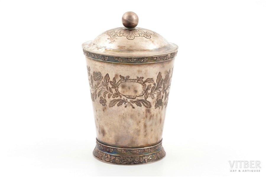 cup with lid, silver, 12 лот (750) standart, engraving, gilding, 263.85 g, Germany/Congress Poland, h (with lid) 13.7 cm