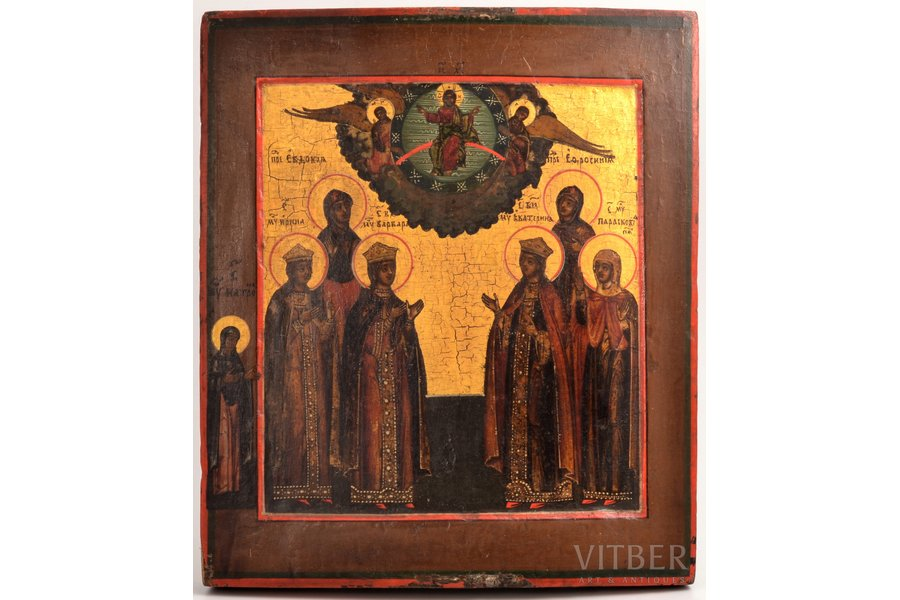 icon, Women Saints, board, painting, guilding, Russia, 31.2 x 26.6 x 3 cm