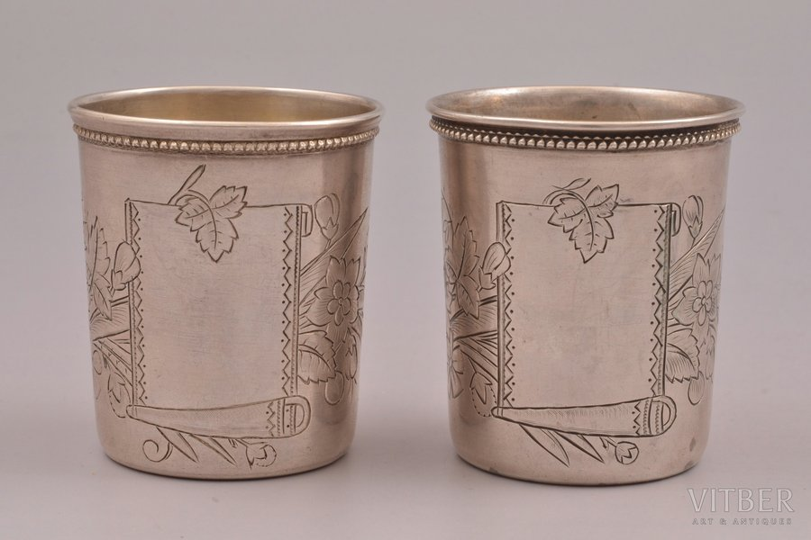 pair of beakers, silver, 84 standart, engraving, 1894, total weight of items 73.50g, Pavel Koshelev's workshop, Moscow, Russia, h 5.4 cm