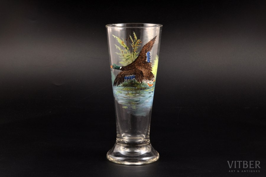 "glass, ""Duck"", painting by hand, the border of the 19th and the 20th centuries, h 18.5 cm"