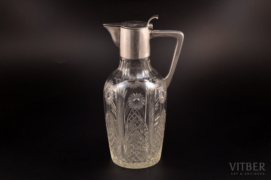 carafe, silver, 800 standart, crystal, Germany, h 25 cm