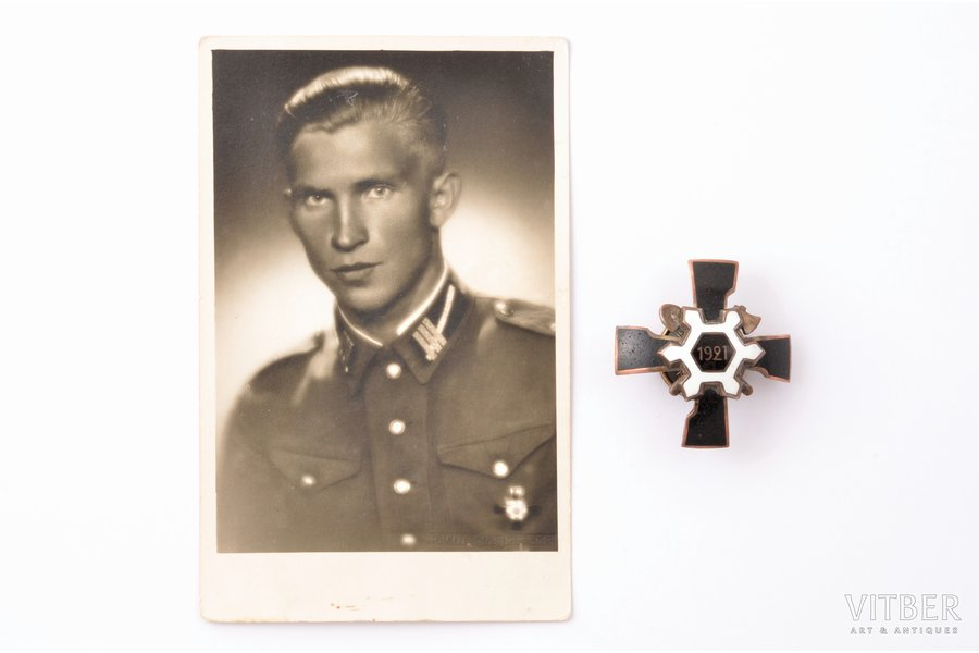 badge, a photo, Engineer-sapper regiment, Latvia, 20-30ies of 20th cent., 44 x 42 mm