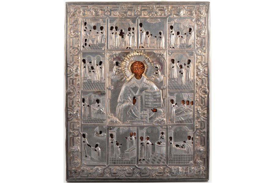 icon, Saint Nicholas the Miracle-Worker, board, silver, painting, 84 standart, Dmitry Ivanovich Orlov's factory, Russia, 1857, 50.8 x 40.6 x 2.2 cm, oklad weight 1059.8 g