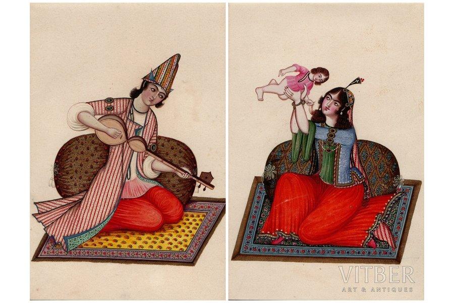 2 miniatures, Iran, the 19th cent., paper, water colour, 15.1 x 10.1 cm, paper size 33.1 x 24.6 cm