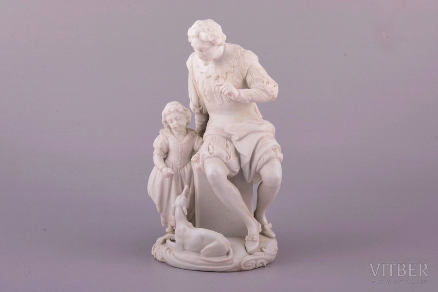 """sculptural group """"Admonition"""", bisque, Russia, Imperial Porcelain Factory, molder - August Karlovich Spiess, 1866, h 20.3 cm, restoration of the man's left wrist and neck, and the girl's right wrist"""