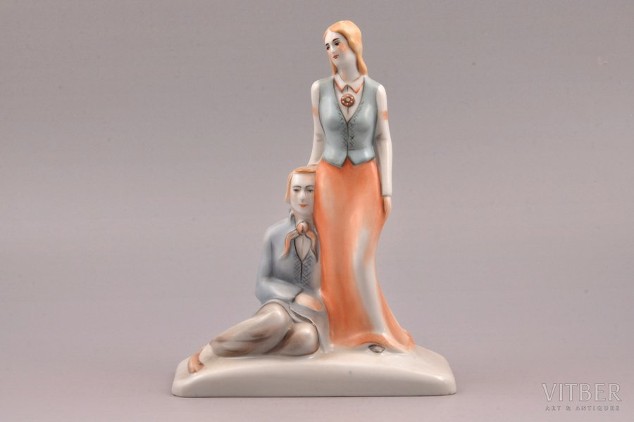 figurine, Couple in traditional costumes, porcelain, Riga (Latvia), J.K.Jessen manufactory, signed painter's work, handpainted by Irina Sochevanova, 1936-1939, h 19 cm