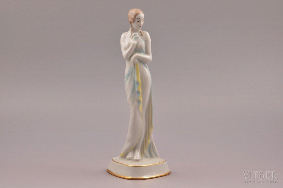 figurine, Young woman, porcelain, Riga (Latvia), M.S. Kuznetsov manufactory, 1934-1936, h 22.3 cm, second grade