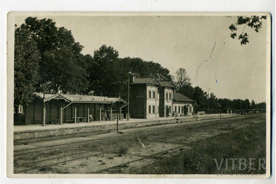 fotogrāfija, dzelzceļa stacija, Vaiņode, Latvija, 20. gs. 20-30tie g., 13,8x8,5 cm