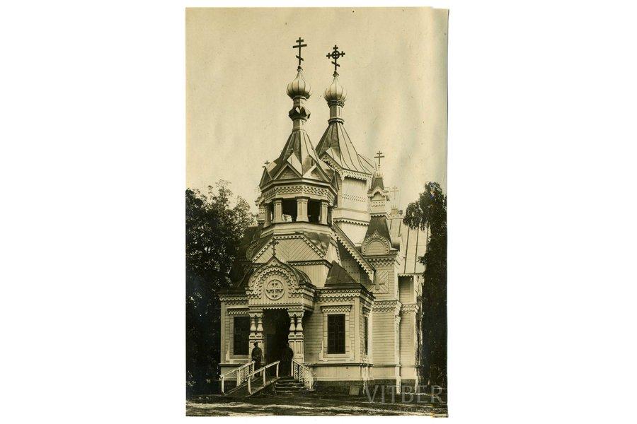 photography, World War I, Ķemeri (Kemmern), German soldiers at the Orthodox Church, Latvia, Russia, beginning of 20th cent., 14x9 cm