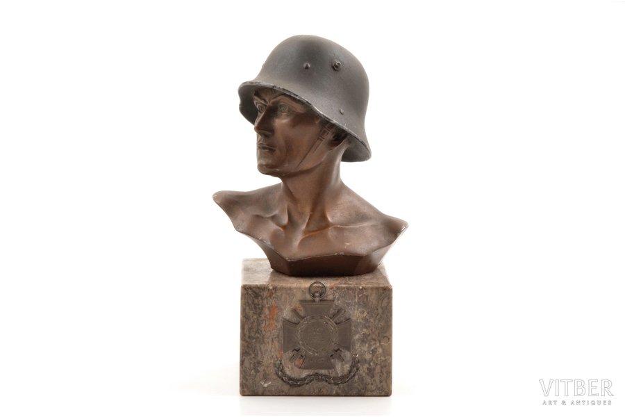 bust, German soldier, World War I, h 19.1 cm, Germany, 1914-1918