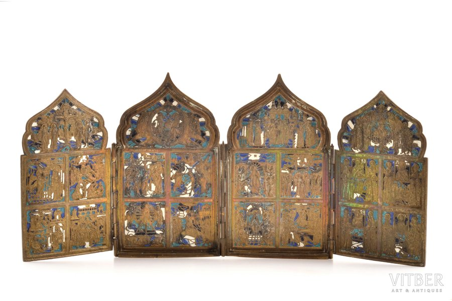 icon with foldable side flaps, Great Feasts, copper alloy, 4-color enamel, Russia, the border of the 19th and the 20th centuries, 18 x 40.7 x 0.8 cm, 1394.50 g.
