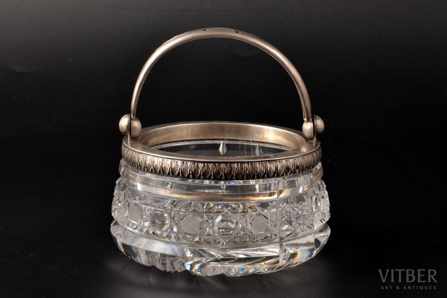 sugar-bowl, silver, 875 standart, crystal, the 20ties of 20th cent., Latvia, Ø 10.7 cm, h (with handle) 11.2 cm, on the bottom - small chip, traces of everyday use