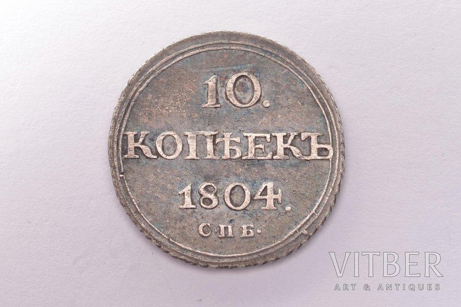 10 kopecks, 1804, SPB, FG, silver, Russia, 1.94 g, Ø 18 mm, XF