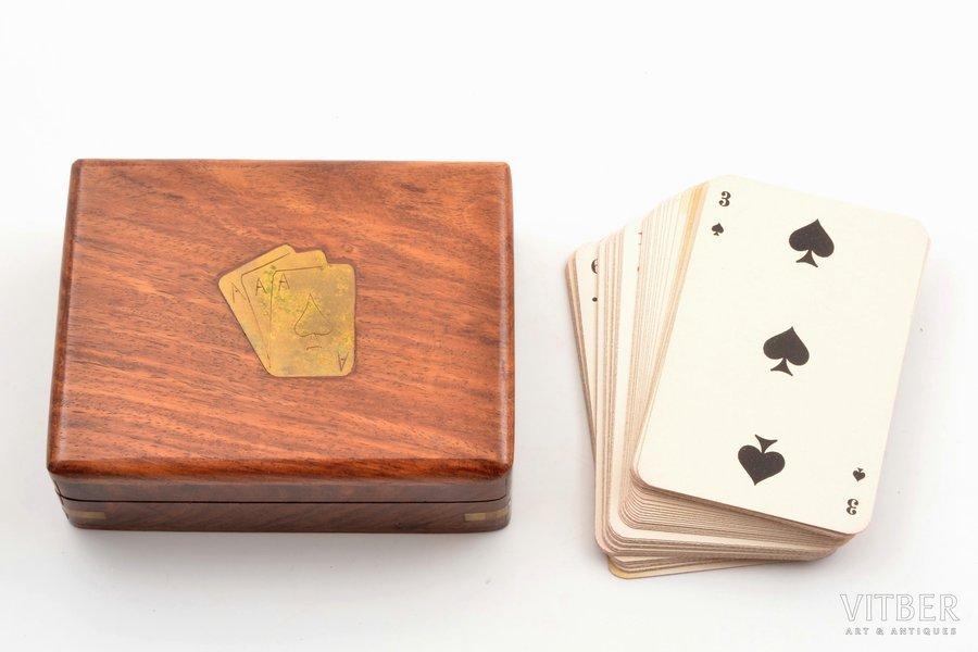 "set of playing cards, publisher ""Latvijas Vērtspapīru spiestuve"", 53 cards (missing joker), Latvia, in a wooden box, box size 3.7 x 11.5 x 9 cm"