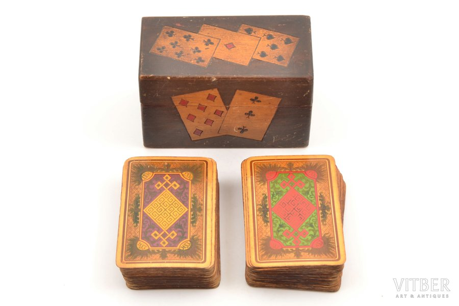 set of playing cards, Red Cross of Latvia, 2 sets (one of the sets missing a three of spades and a joker, in the other set one extra three of spades and missing joker), Latvia, in a wooden box, box size 7 x 11.3 x 5.9 cm